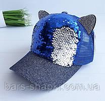 Детская кепочка с паетками перевертышами и ушками р 52-54 (синяя)