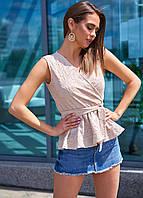 Натуральная легкая блуза из прошвы с баской-воланом (Велия mm)