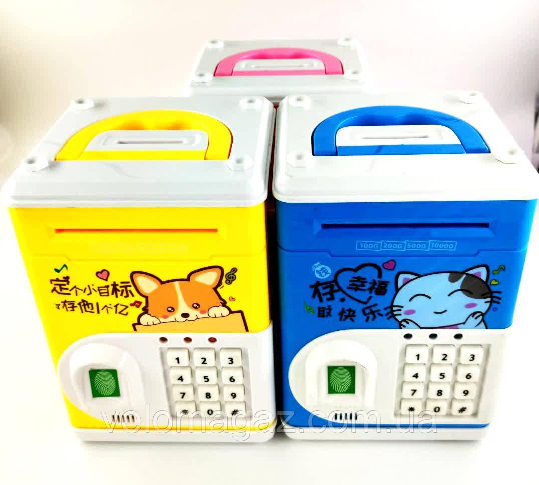 Іграшковий сейф з датчиком відбитків пальців, купюро-приймачем, світло, звук, кодовий замок