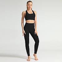 Спортивный костюм женский бесшовный компрессионный для фитнеса. Комплект лосины и топ, размер L (черный)