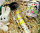 """Подарочный набор любимой """"Love is"""": пластиковая бутылка, игрушка-талисман зайка и консервированные носочки, фото 6"""