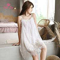 Сорочка ночная женская кружевная. Комбинация с кружевом. Ночная рубашка (белая)