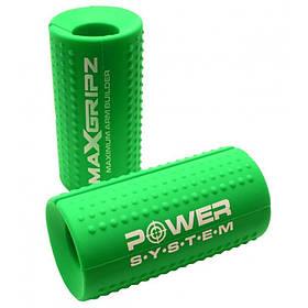 Расширители грифа Power System Max Gripz PS-4056 M 10*5 см Green (расширитель хвата) 2шт.