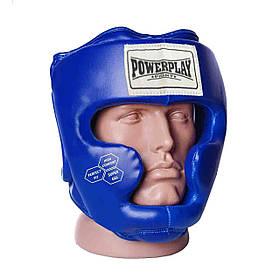 Боксерский шлем тренировочный закрытый экокожа шлем для бокса PowerPlay 3043 cиний XS