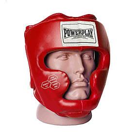 Боксерский шлем тренировочный закрытый экокожа шлем для бокса PowerPlay 3043 красный XS