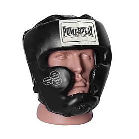 Боксерский шлем тренировочный закрытый экокожа шлем для бокса PowerPlay 3043 черный XS