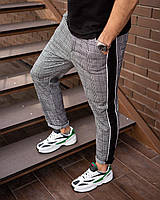 Мужские штаны классика лампас серые клетка, фото 1