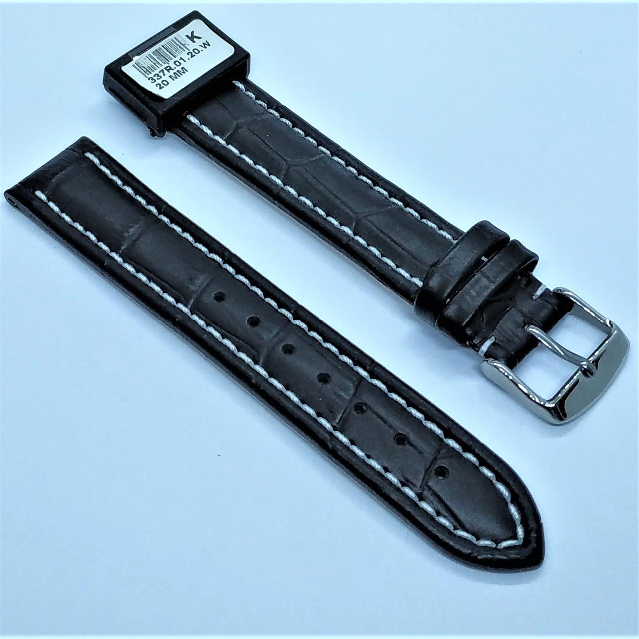 20 мм Кожаный Ремешок для часов CONDOR 337.20.01 Черный Ремешок на часы из Натуральной кожи