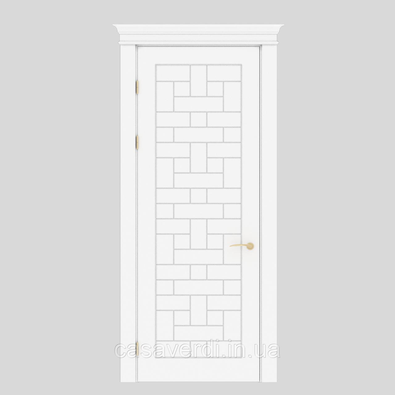 Межкомнатная дверь Casa Verdi Portale 3 МДФ белая с декором