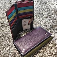 Фиолетовый женский кожаный кошелёк с цветными вставками и блоком для карточек Dr.Bond