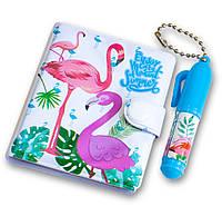 Милый блокнот для девочки (бламинго, синий) детский маленький блокнотик + маленькая ручка, набор для детей