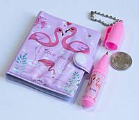 🔝 Блокнот для девочки + маленькая ручка, милые блокнотики для детей - Розовый фламинго   🎁%🚚