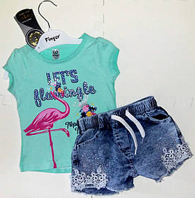 Комплект для девочки на лето с джинсовыми шортами Размеры 86-98