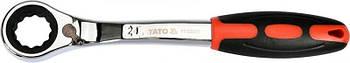 Ключ накидной, изогнутый с трещоткой : М24, HRC 42-48, Cr-V, с эргономичной прорезиненной ручкой Yato YT-02385