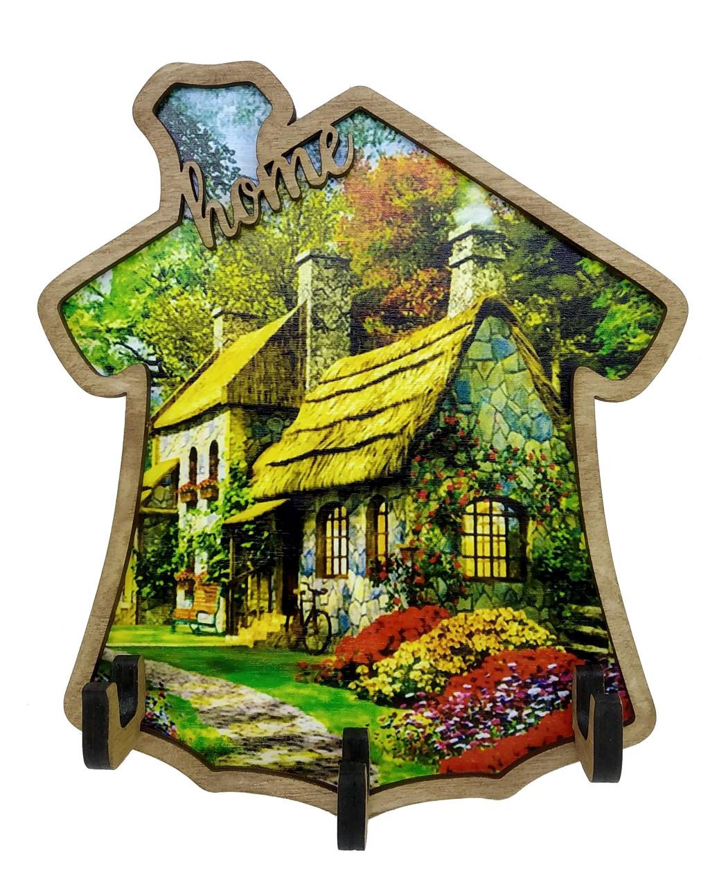 Ключница деревянная Home с рисунком Лесной домик