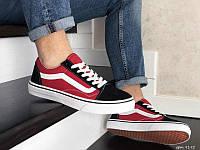 Кроссовки Vans. Мужские кроссовки Ванс черно-красные с белой подошвой.