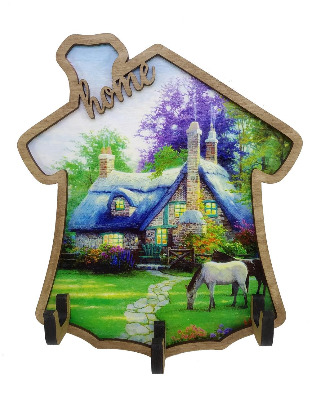Ключница деревянная Home с рисунком Домик у леса
