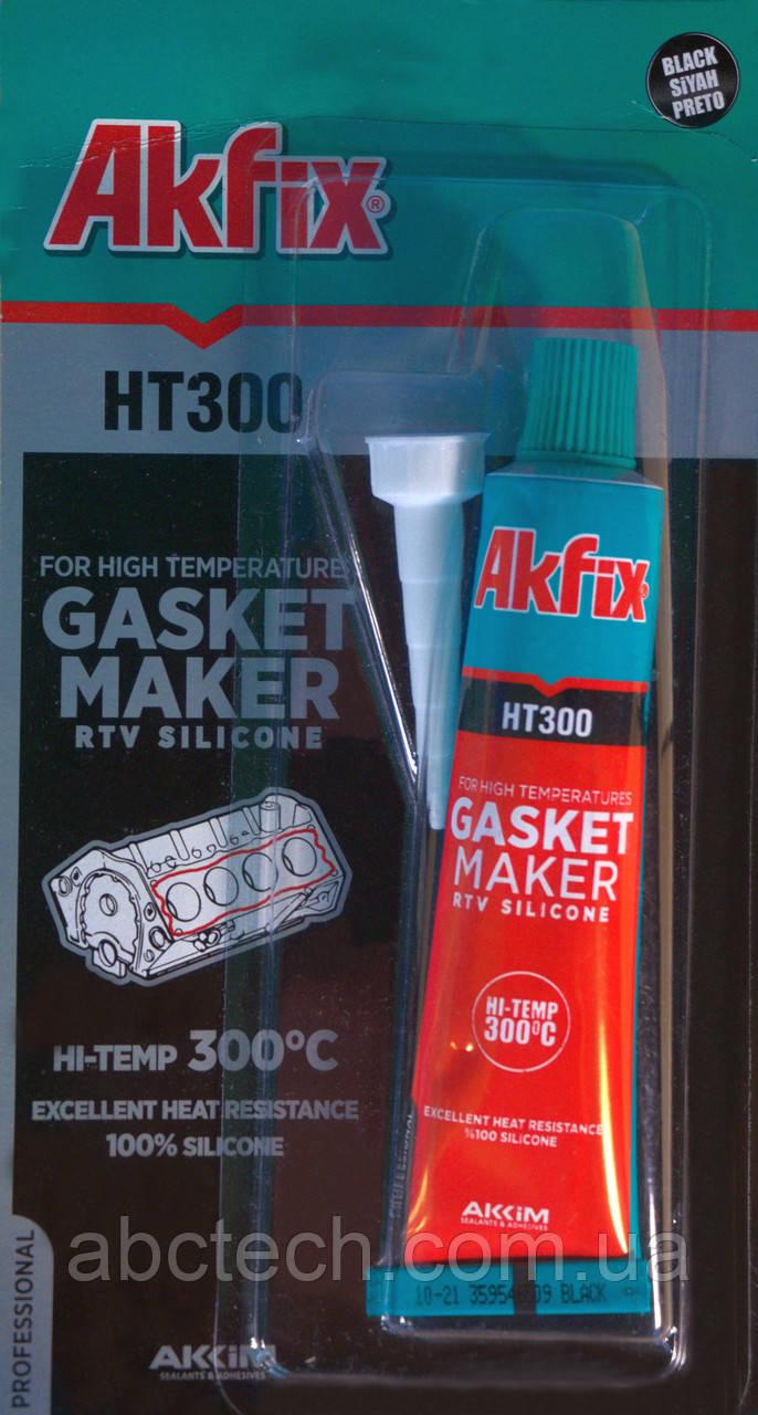 Герметик силиконовый термостойкий Akfix HT300 50гр Черный