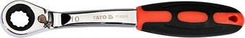 Ключ накидной, изогнутый с трещоткой : М10, HRC 42-48, Cr-V, с эргономичной прорезиненной ручкой Yato YT-02372