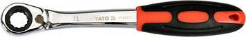 Ключ накидной, изогнутый с трещоткой : М11, HRC 42-48, Cr-V, с эргономичной прорезиненной ручкой Yato YT-02373