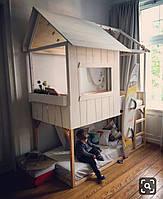 Детская подростковая двухъярусная кровать Домик 190см / 90 см ,Чердак кровать