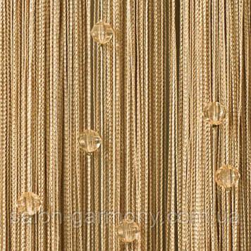 Штори нитки бежеві з прозорими алмазними намистинами айворі