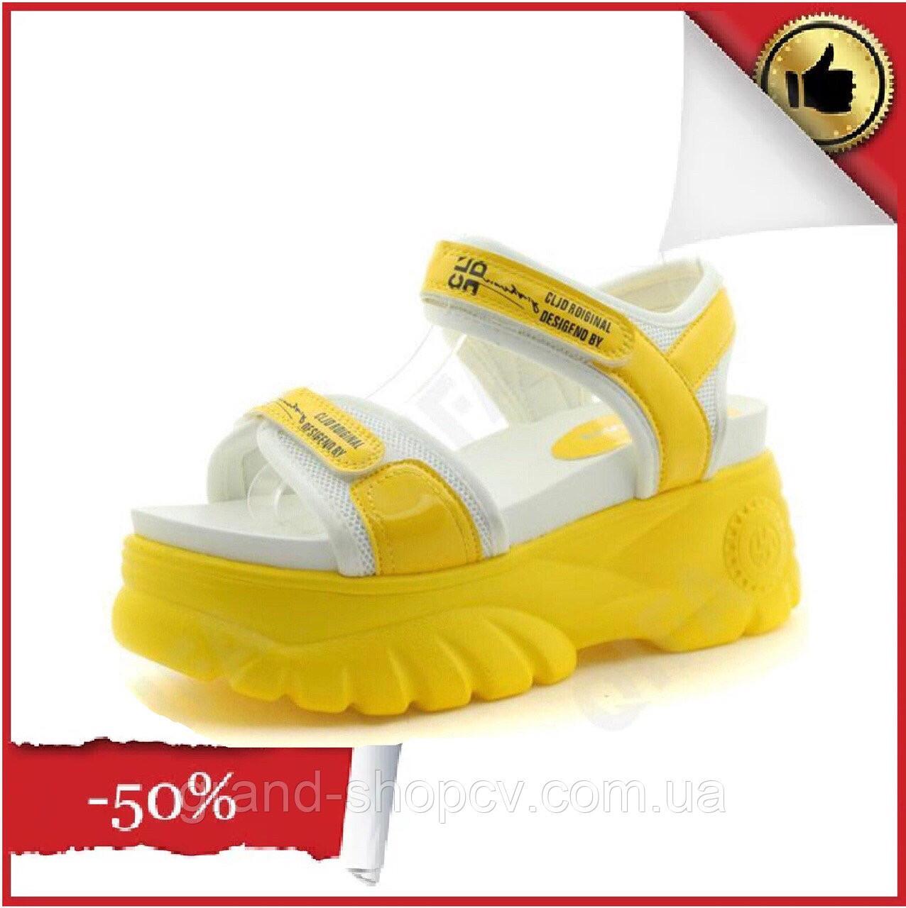Женские стильные белые с желтым Босоножки на платформе Эко-кожа Horoso Fashion 41 Размер (маломиркы)