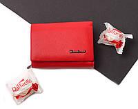Кожаный женский красный кошелек портмоне тройного сложения Cardinal, кошелек из натуральной кожи