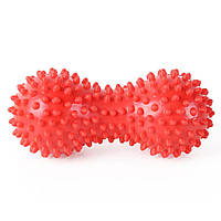 Массажный мяч двойной арахис с шипами CF88 14 см Красный
