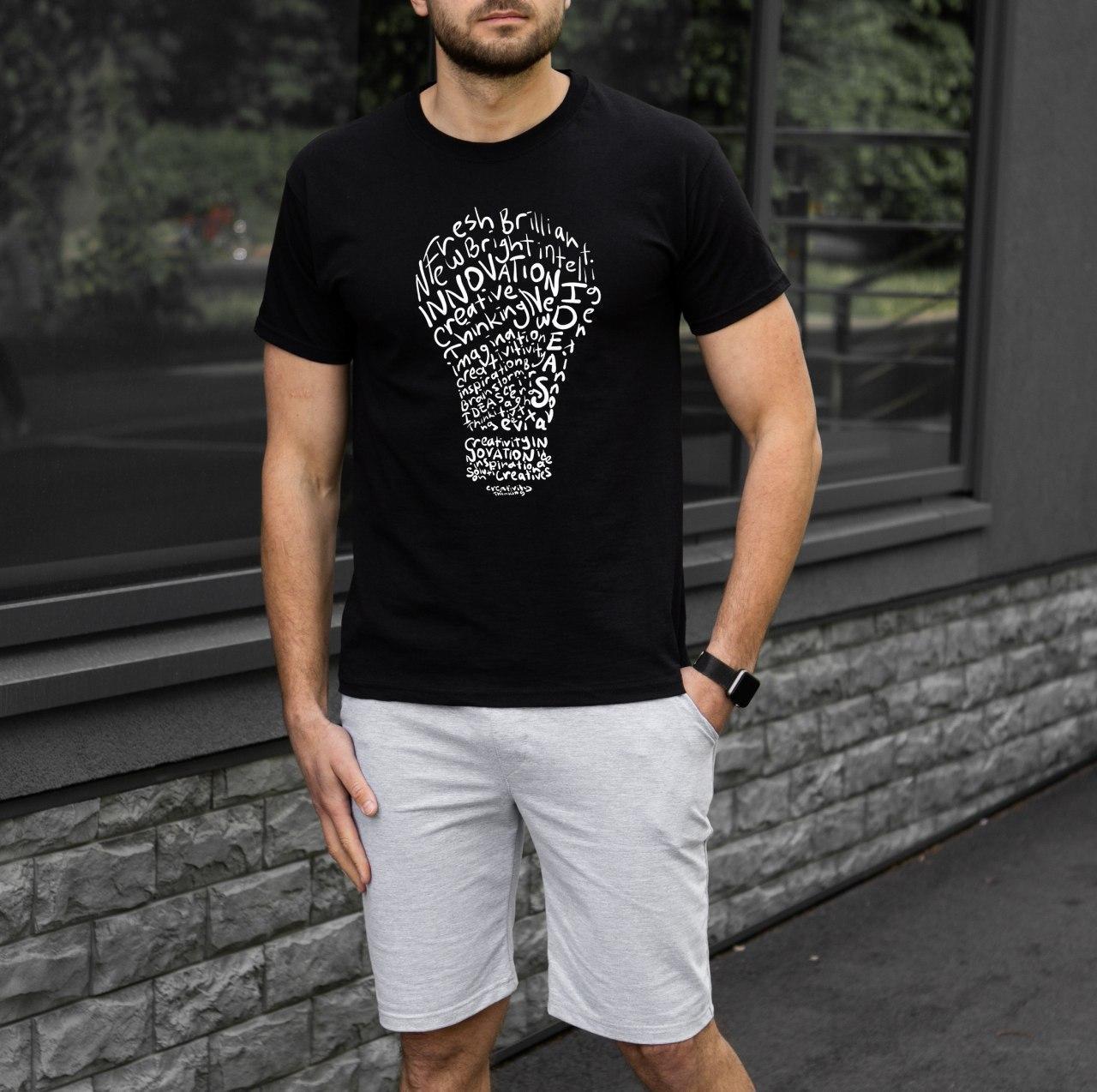 Мужской комплект футболка + шорты creative черно-серый