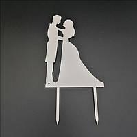 Деревянный топпер для свадебного торта 14х10 см, арт. TPR-004