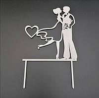 Деревянный топпер для свадебного торта 14х12 см, арт. TPR-005