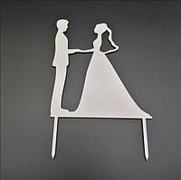 Деревянный топпер для свадебного торта 15х12 см, арт. TPR-014