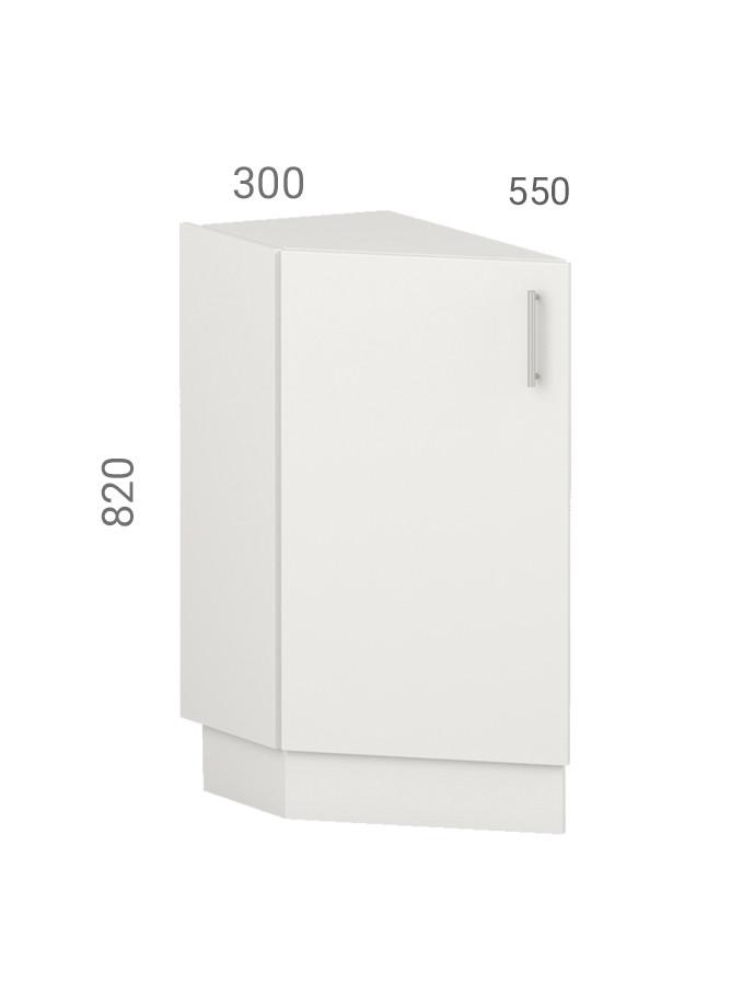 Тумба кухонна (модуль) зі скосом (закінчення кухні). Фасад з пластику на основі МДФ (30х55х82 см)