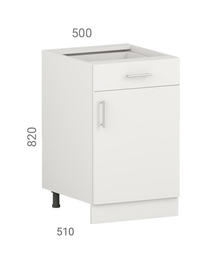 Тумба кухонна (модуль) з створчатым фасадом і ящиком з пластику на основі МДФ (50х51х82 см)