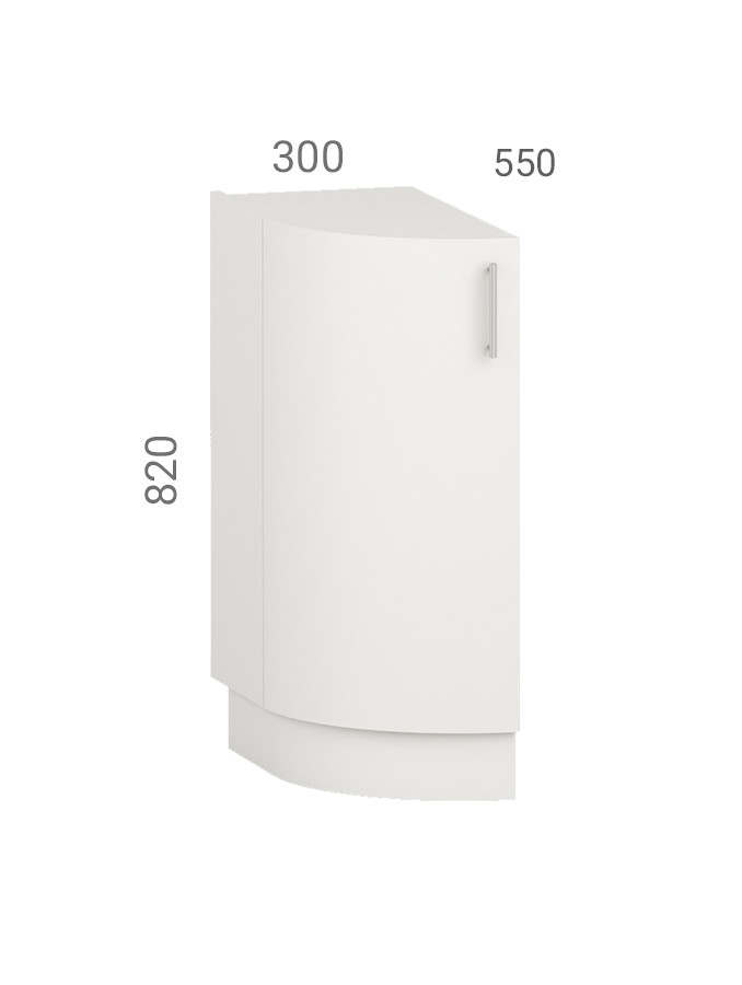 Кухонная тумба (модуль) овальная (окончание кухни). Фасад из пластика на основе МДФ (30х55х82 см)