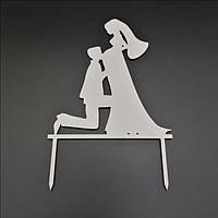 Деревянный топпер для свадебного торта 15х12 см, арт. TPR-021
