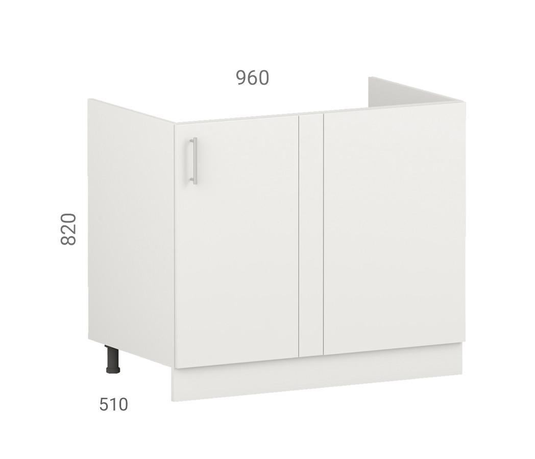Тумба кухонна (модуль) для миття розташованої в кутку. Фасад з пластику на основі МДФ (96х51х82 см)