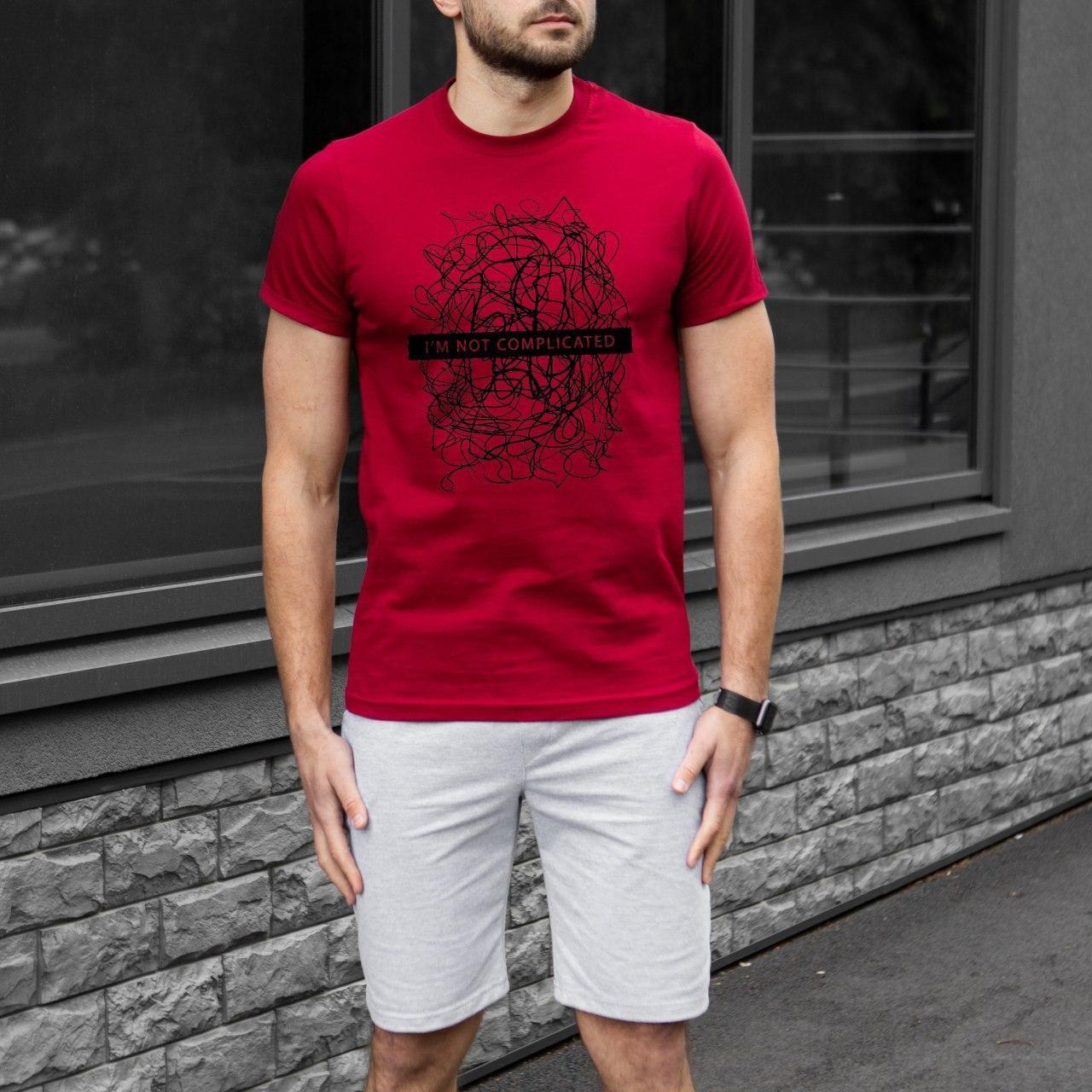 Чоловічий комплект футболка + шорти Complicated бордово-сірий