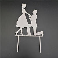 Деревянный топпер для свадебного торта 14х11 см, арт. TPR-023