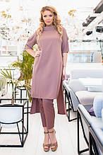 Жіночий стильний брючний костюм з тунікою 50-60р.(3расцв)