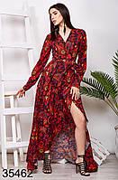 Вечернее длинное платье на запах с принтом 42-46