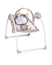 Электронная качалка шезлонг бежевая Lorelli Portofino Beige для малышей с рождения до 9 месяцев