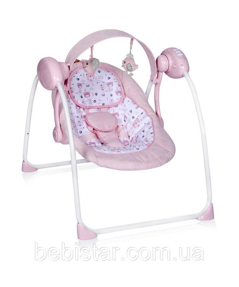 Электронная качалка шезлонг розовая Lorelli Portofino Pink для малышей с рождения до 9 месяцев