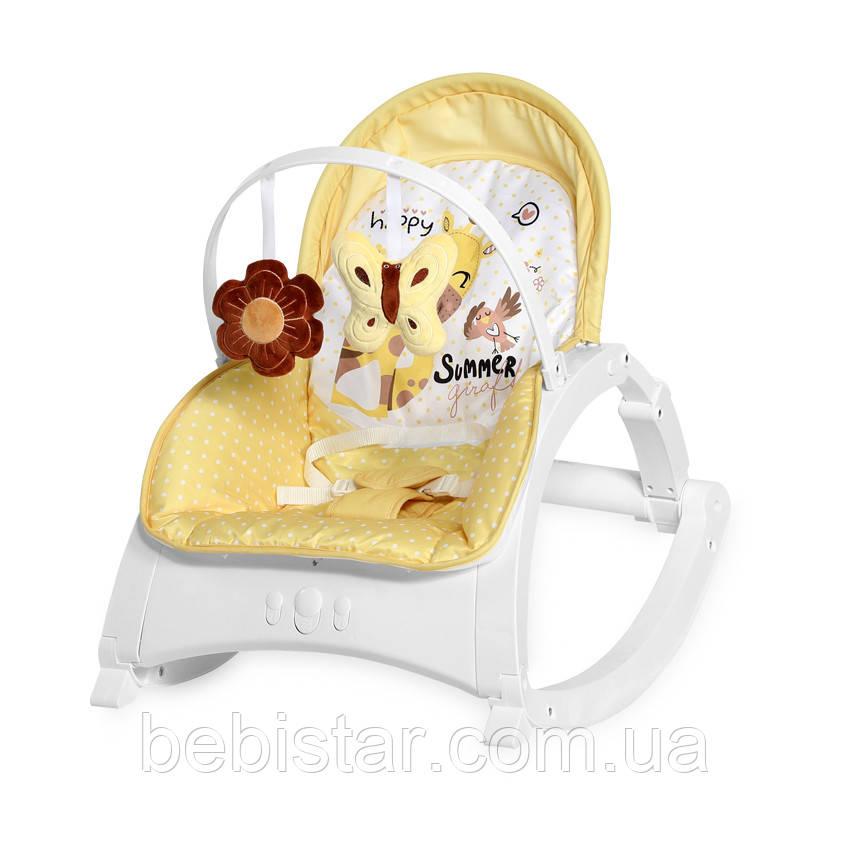 Кресло-качалка желтая для малышей до 1 года и стульчик до 3-х лет Lorelli Enjoy Yellow Giraffe