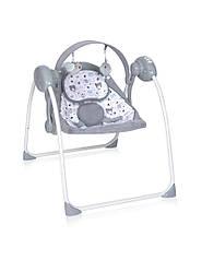 Электронная качалка шезлонг серая Lorelli Portofino Pink для малышей с рождения до 9 месяцев