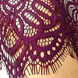 Ажурне мереживо шантильї (з віями) пурпурно-червоного відтінку шириною 30 см, довжина купона 1,55 м., фото 3