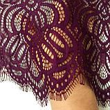Ажурне мереживо шантильї (з віями) пурпурно-червоного відтінку шириною 30 см, довжина купона 1,55 м., фото 5