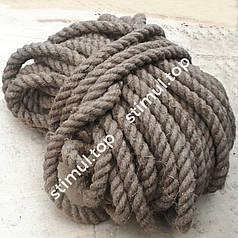 Канат пеньковый Ø 10 мм - 50 метров ▶ Льнопеньковый шнур ▶ Мотузка пенькова