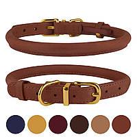 Ошейник для собак круглый кожаный Premium коньячный